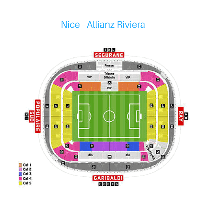 Place Tribune match Allianz Riviera, Nice, France