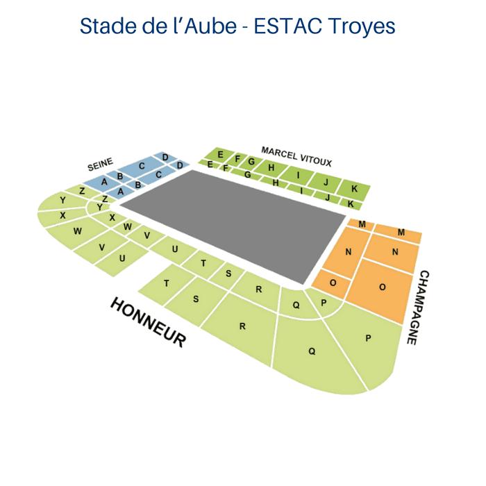 Place Tribune Stade de l'AubeESTAC Troyes